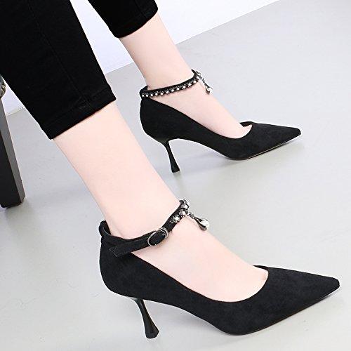 kphy-spring acqua foratura in metallo fissaggio 7.5cm tacco alto scarpe da donna, colore: Nero Wild luce è bene con Single scarpe black