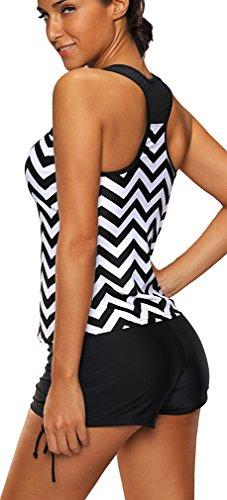 Bettydom Maillot de Bain Deux Pièces Taille Haute Imprimé Pop Bikini avec Shorty Noir Blanc