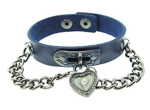 Lovelegis Damenarmband - Armband für Frauen - Damen Armband - Herzarmband- Herz - Steampunk - Rock - Punk - Kunstleder - Kette - Taste - Gotik - Blaue Silberne Farbe Biker-taste