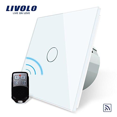 LIVOLO Funk Schalter mit Fernbedienung mit LED Anzeige Licht Touchscreen aus Kristallglas Lichtschalter 4 Farben EU Standard 1 Fach 1 Weg, VL-C701R-11-R