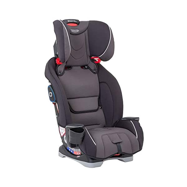 Graco Slimfit All-in-One Car Seat, Group 0+/1/2/3, Pearl Grey Graco 3 in 1 car seat can be used from birth up to 36 kg (approximately 12 years). rearward facing for longer from birth to approx. 4 years (0-18kg) Easily converts to and from the three riding positions; rear-facing harnessed seat (0-18kg), to forward-facing harnessed seat (9-18kg) and to high back booster (15-36kg) True shield safety surround side impact protection for enhanced safety 6