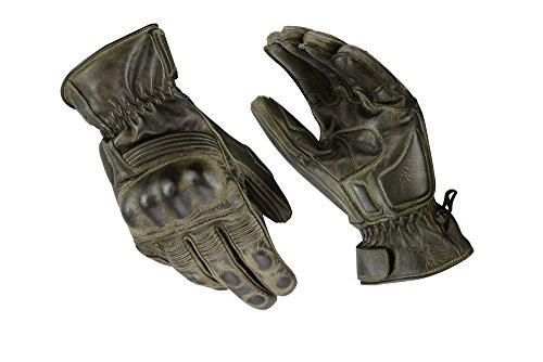 Kevlar-motorrad-leder (Motorrad Sport Racing Kevlar gewachst Leder Handschuhe wax Grün, L)