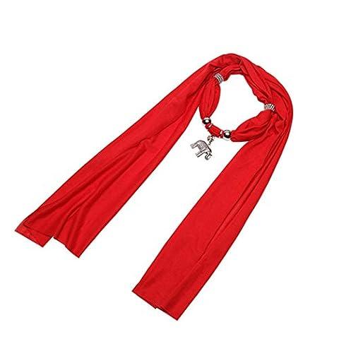 Overdose Charme Elefant hängende Schal Schal Halskette mit Kreuz Schmuck (170*35cm/66.9*13.8