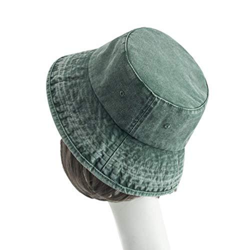 d Winter Vintage Denim Waschen Eimer Volltonfarbe Baumwolle Männer und Frauen im Freien beiläufige Flache Kappe ()