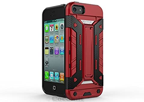 iPhone SE / 5S / 5C / 5 Coque, Cocomii Transformer Armor NEW [Heavy Duty] Premium Built-in Multi Card Holder Kickstand Shockproof Hard Bumper Shell [Military Defender] Full Body Dual Layer Rugged Cover Case Étui Housse Apple (Red)