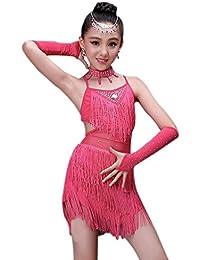 BOZEVON Ragazza Vestiti da Ballo Abito Vestito con Paillettes Abbigliamento da  Danza Abiti di Danza Latina c8c0d50e166