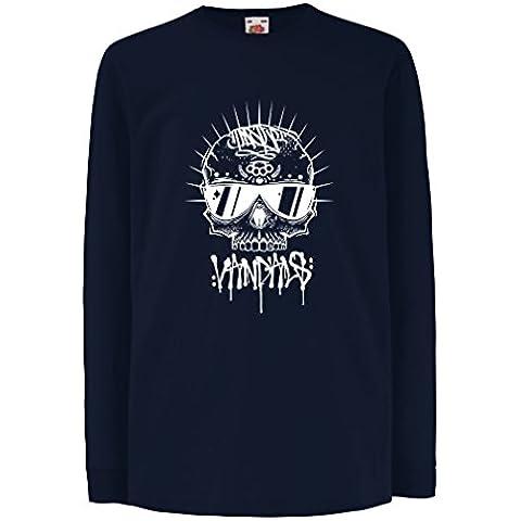 N4599D La camiseta de los niños con mangas largas The Skull