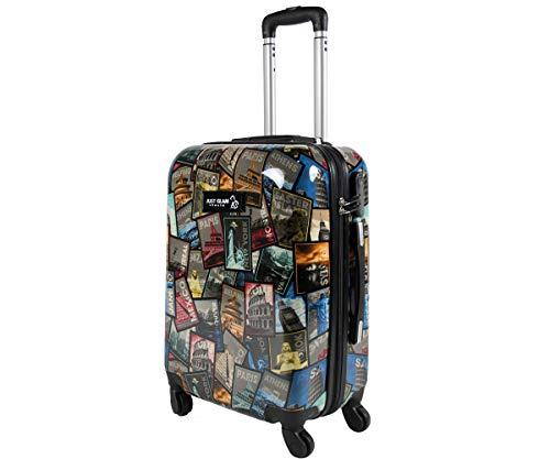 Trolley da cabina 55 cm valigia rigida 4 ruote in abs policarbonato stampato a fantasia antigraffio e impermeabile compatibile voli lowcost come Easyjet Rayanair