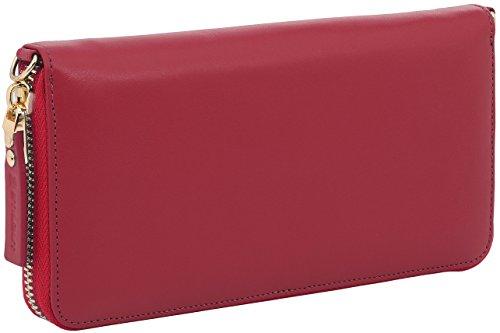 StilGut Smart Wallet in pelle - elegante clutch, portafoglio, custodia per smartphone e borsa a tracolla, Blu Scuro Nappa rosso nappa