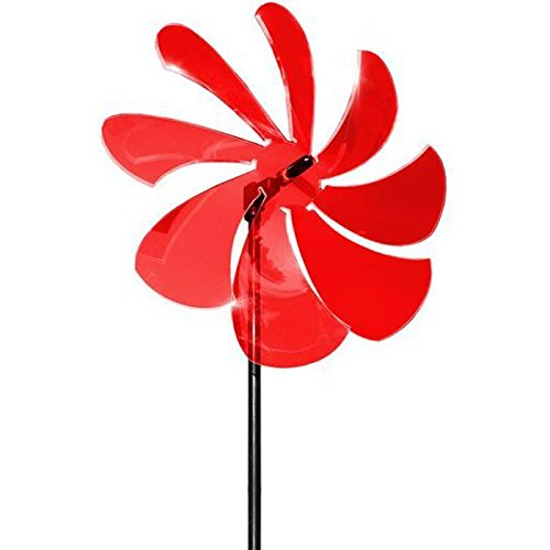 elliot 1023003 Lichtzauber Windrad 25 cm, inklusive 100 cm Stab, rot -