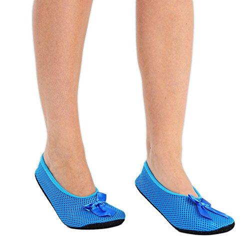 Damen Weiche Hausschuhe Ballerina Slipper mit Schleife 6 Farben erhältlich in EU-Größe 37-40 Blau