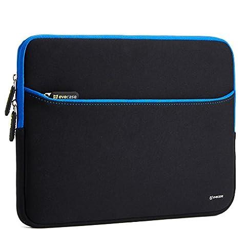 Evecase 13,3 Zoll Schutzhülle, Ultra-dünn, gepolstert, kompakt, Neopren Hülle mit Accessoirefach für Ultrabooks / Tablets / Laptop / Notebook / Chromebook - schwarz /