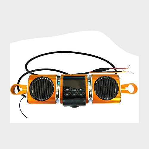KKmoon Hochwertige Sprach Wasserdichte Motorrad Audio Radio Sound System Stereo Lautsprecher FM Gestreifte Aluminium Legierung Power Music Player Hohe Sound Motorrad TF/USB/Aux Multifunktional