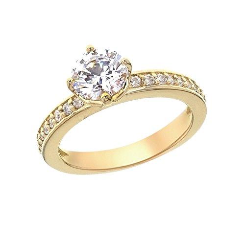 4c7df1375 Myia Passiello Essentials Swarovski Zirconia Yellow Gold Round Channel Band  Ring - Size O