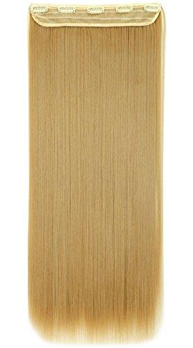 """Clip in Extensions wie Echthaar Hellgoldblond/Mittelblond Haarverlängerung Haarteil hitzebeständig Glatt 1 Tresse 5 Clips 26""""(66cm)-140g"""