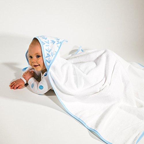 Baby-Geschenk: Kapuzen-Handtuch | Neugeborene Babys Mädchen Jungen | Wunderschön & edel verpackt | 90x90 cm | Ideal für empfindliche Neugeborenen-Haut: 100% kuschelweiche Bio-Baumwolle, Blätter