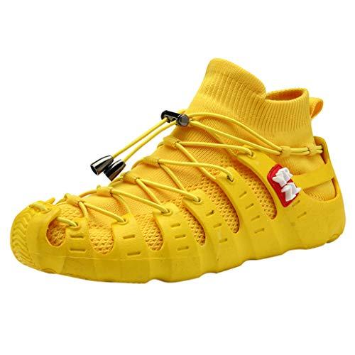WOZOW Chaussures Femmes Mesh Shoes Les Sports Loisirs sont Respirantes dans D'éténouveau Baskets Respirant Sport étudiant Chaussettes Sneakers Outdoors Jogging Formateurs(Jaune,37)