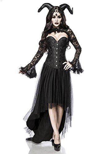 (5 tlg. Dämon Teufel Gothic Vampir Kostüm Damenkostüm Halloween Schwarz Queen Set)