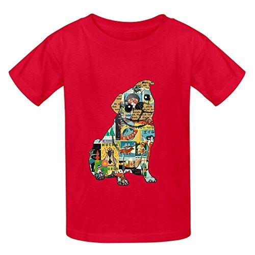 Carlino Collage Bambini Girocollo T-Shirt personalizzata Red XS/110 cm