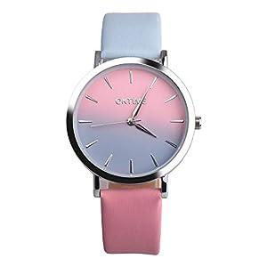 Damen Herren Mode Retro Regenbogen Gradient Süß Legierung Armbanduhr Quarz Leder Beobachten Uhren Groveerble
