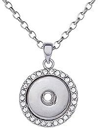 Morella Damen Halskette Edelstahl 50 cm oder 70 cm mit Click-Button Druckknopf Träger und in Samtbeutel