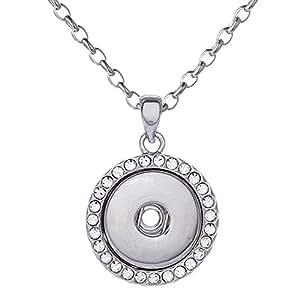 Morella Damen Halskette Edelstahl 50 cm oder 70 cm mit Click-Button Träger und Zirkoniasteinen für Click-Button Druckknöpfe in Samtbeutel