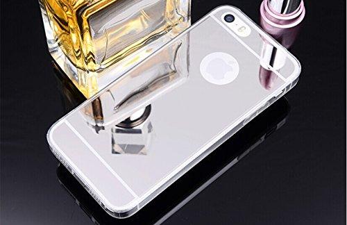 Spiegel Soft Case Handy Hülle Schutzhülle Luxus Bumper von ZhinkArts für Apple IPhone 6/6S Silber Gold