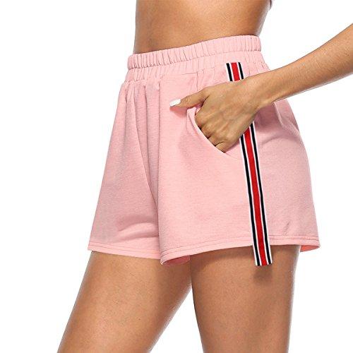 Hippolo Frauen Fitness Shorts Für Training Laufen Abnehmen Strand Wandern Laufen Hohe Taille Turnhalle Radfahren Sport Kurz (M, Pink)