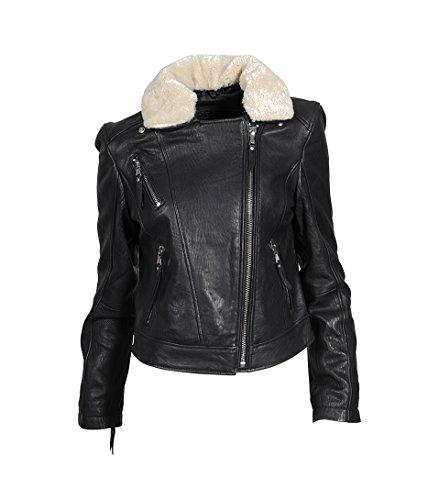BE EDGY Damen Lederjacke Lily mit Fellkragen in Schwarz black / Fur offwhite