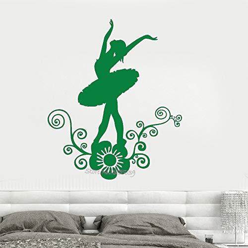 guijiumai Ballerina Dance Vinyl Abnehmbare Wandtattoo Mädchenzimmer Blume Schöne Mädchen Aufkleber Kunst Decals Design Sofa Hintergrund L 6 56x69 cm