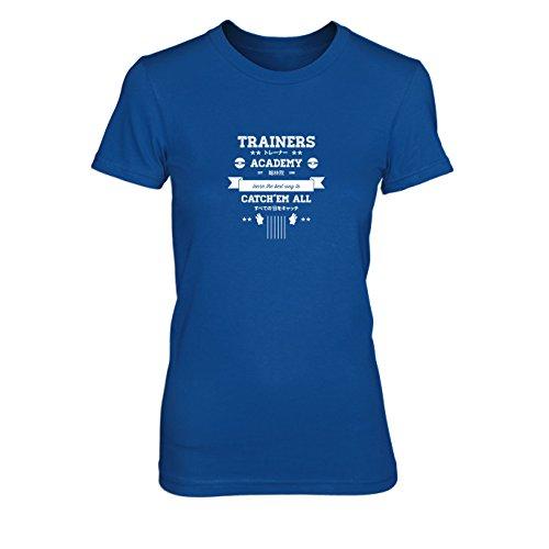 Trainers Academy - Damen T-Shirt, Größe: XL, Farbe: blau (Pokemon Trainer Blauen Kostüm)