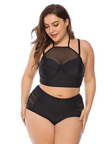 FeelinGirl Damen Pin-Up Bikini Sets Neckholder Einteilige Bademode mit integriertem Rock XL Schwarz (High Waist Pin Up Set Bikini)