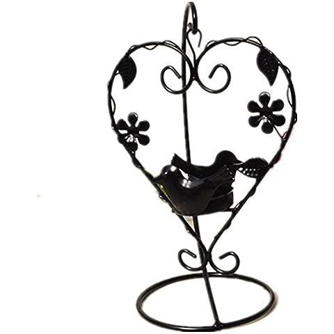 GYN Europea Retro hierro vela titular negro y blanco amor pareja aves vela titular creativo Inicio escritorio decoraciones , Black