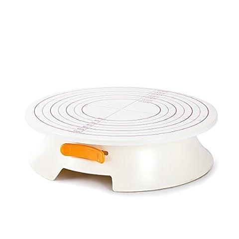 SveBake Tortenplatte - Kunststoff Tortenständer mit Lock Schalter und Skalenmarke,