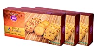 Karachi Bakery Triple Delight, Triple Choice, Fruit, Chai and Cashew Biscuits, 600g (Pack of 3)