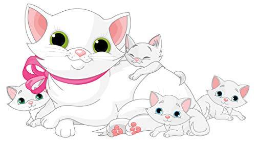 dekodino® Wandtattoo Katzen Familie in weiß mit Tierbaby Mädchenzimmer Deko