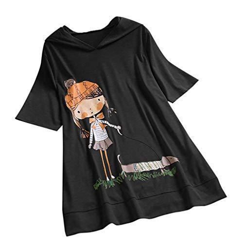 VEMOW Camiseta de Manga Corta con Capucha y Estampado de Dibujos Animados Casual para Mujer tamaño...