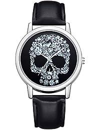 Patrón de Cabeza de Calavera Relojes de Pulsera de Cuarzo Mujeres Horas de la Moda Simple