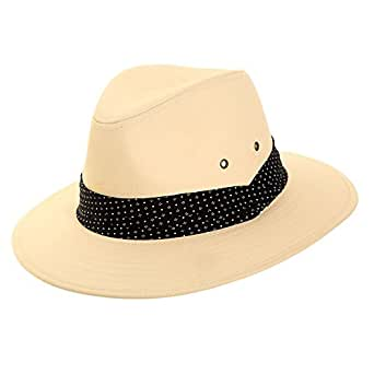87c3e5a3305 Mens Cotton Fedora Sun Hat with Spotted Band - Trilby Style Summer ...