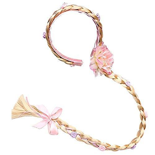 L-Peach Accesorios de Princesa Dress Up Trenza Rosa para para Niñas C