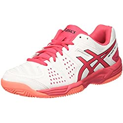 Asics E561Y0119, Zapatillas de Tenis Mujer, Blanco (White / Rouge Red / Flash Coral), 39 EU