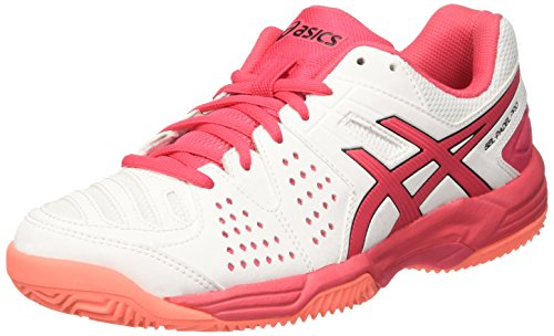 Asics E561Y0119, Zapatillas de Tenis para Mujer, Blanco (White/Rouge Red/Flash Coral), 40 EU