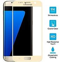 Samsung Galaxy S7 Cristal Vidrio Templado Protector de Pantalla, 11:11 Accessories Genuino [9H Dureza] 0,26 mm [Ultra Claro Transparencia Alta Definicion] Defensa Membrana Táctil Protector de Pantalla [2.5d Bordes Lisos] [Recubrimiento Oleophonic] [Sin Burbujas] - Oro