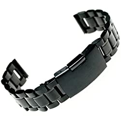 Ritche Black Stainless Steel Bracelet Watch Band Strap Straight End Solid Links of 22m Bandcase -01