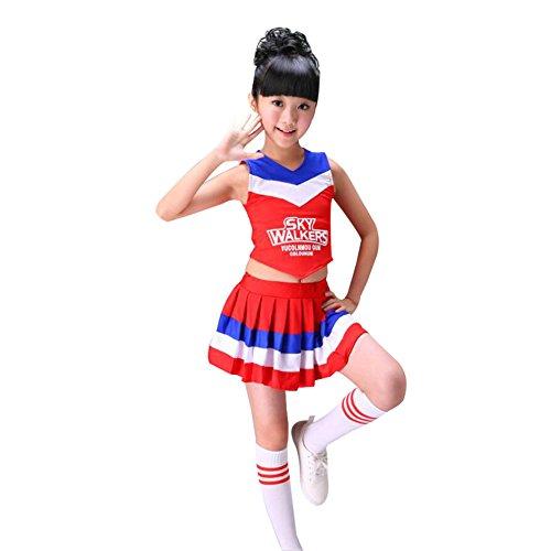 Mädchen Damen Cheerleader Kostüm Uniform Zweiteilig Karneval Fasching Party Halloween Weihnachten Kostüm Kleid Cheerleading Jazz Bekleidung mit Socks Rot 140 (Cheerleader Uniform Für Mädchen)
