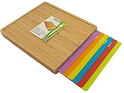 Organic Extra Large Bamboo Wooden Chopping Board with Flexible BPA Free Dishwasher Safe Plastic Colour Coded Cutting Mat Set of 6 with Food Icons, Antibacterial Kitchen Wooden Chopping Boards Set