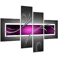 Wallfillers Image sur Toile - Abstrait Violet, Noir et Gris - 4 Parties Canvas 4092