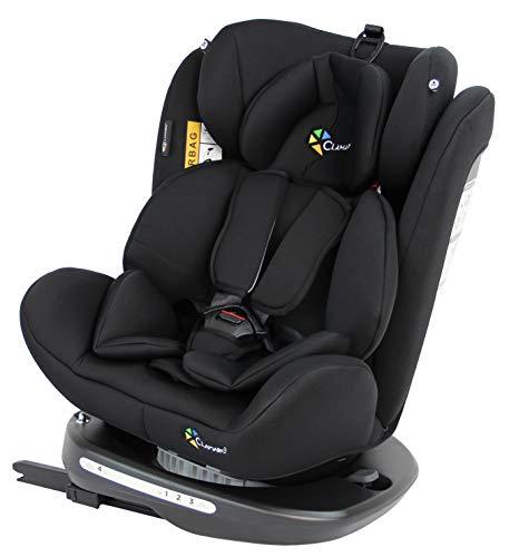 Clamaro \'Ranger 360\' 4in1 Isofix Autokindersitz Gruppe 0+, I, II und III (0-36 kg) 360° drehbar, mitwachsender Baby- und Kinderautositz 0 bis 12 Jahre, verstellbare Kopfstütze und Rückenlehne, schwarz