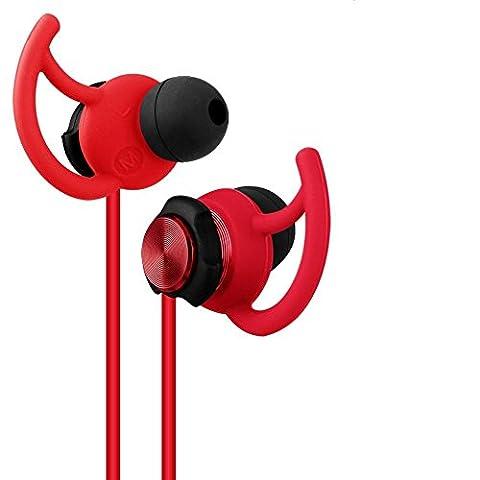 GEVO Ergofit in-Ear Noise Cancellation Schweiß-Sport Kopfhörer für Running Workout Gym Übungen Kopfhörer mit Ohrbügel/Integriertes Mikrofon/Aufbewahrungstasche, kompatibel für iPhone, iPod, iPad, Android-Geräte, MP3-Player, CD-Player etc.
