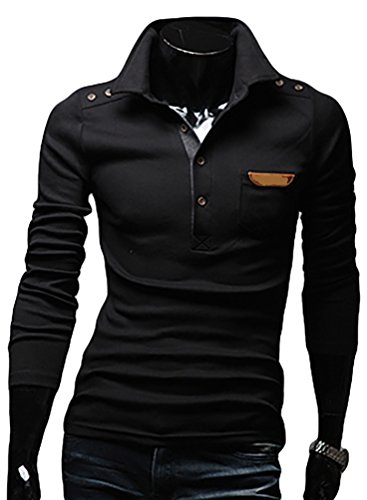 YouPue Freizeit Einfarbig Langarm Poloshirt mit Knopfleiste Longsleeve T Shirt für Herren Schwarz